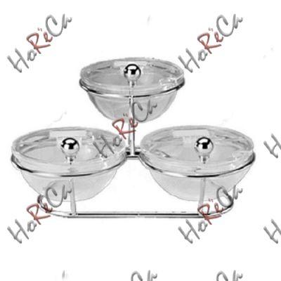 11893 Стойка буфетная з 3-мя салатниками и крышками 30х30х14 см APS