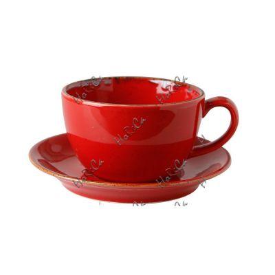 222134R Набор чашка чайная 320 мл+блюдце 15 см Porland (Порланд) Seasons Красный