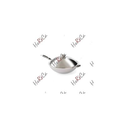 239773 Сковорода индукционная Вок, Ø360x180 мм Hendi, 3 слоя нержавеющей стали, крышка из нержавеющей стали, сковорода подходит для индукцинной плиты для Вок 239766