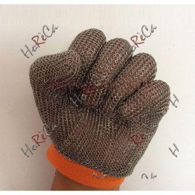 48505-01 Рукавичка кольчужная пятипалая, кольцо из нержавеющей стали 2.75 мм, диаметр сечения: 0.53 мм, анти-износа, защита от порезов и проколов.
