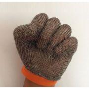 48505-02 Перчатка кольчужная пятипалая, кольцо из нержавеющей стали 2.75 мм, диаметр сечения: 0.53 мм, анти-износа, защита от порезов и проколов, красн..