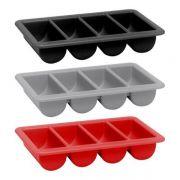 Контейнер для столовых приборов GN 1/1, 4 секции, черный, 530x325x100 мм, Hendi арт 552315