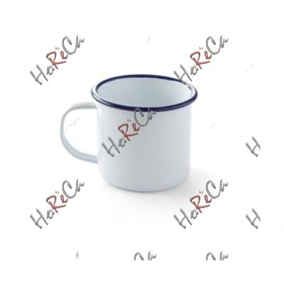 621295 Кружка эмалированная, 360 мл Hendi, сталь с белым эмалевым покрытием с голубой каймой, износоустойчивая эмаль высокого качества.
