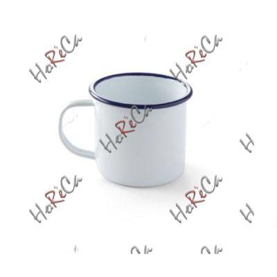 621301 Кружка эмалированная, 520 мл Hendi, сталь с белым эмалевым покрытием с голубой каймой, износоустойчивая эмаль высокого качества.
