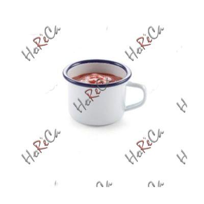 621318 Чашка эмалированная, 120 мл Hendi, сталь с белым эмалевым покрытием с голубой каймой, износоустойчивая эмаль высокого качества.