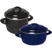 Кастрюля эмал. для супов и соусов цвет черный низкая крышка Hendi Ø120*90 / 0,8л артикул 625705