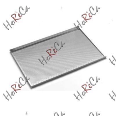 Противень для выпечки - с трёхсторонней обортовкой, алюминия, 600x400 мм - перфорированный, Hendi арт 808214