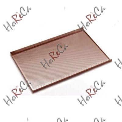 Противень для выпечки - с трёхсторонней обортовкой, алюминий с силиконовым покрытием, 600x400 мм, перфорированный , Hendi арт 808221