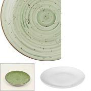 Цветной фарфор Фарн серия Олива Siesta 9043ST, тарелка мелкая баз борта210мм, уп 12 шт.