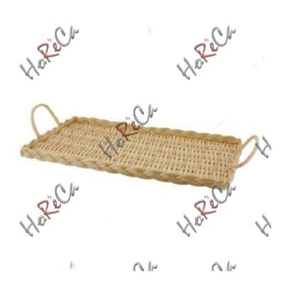 C03017 Поднос плетеный прямоугольный 43,5х25,5х3 см с ручками, светло-коричневый Sunnex