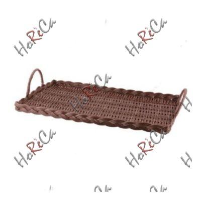C03017V Поднос плетеный прямоугольный 43,5х25,5х3 см с ручками, тёмно-коричневый Sunnex