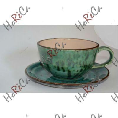 C-11579 Чашка с блюдцем 350мл бирюзовая Alt ceramics, минимальный заказ 6шт.