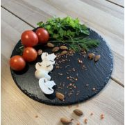 S 2123 Блюдо сланцевое круглое 19,5 см, натуральная испанская сланцевая посуда для ХоРеКа с насыщенный грифельным цветом