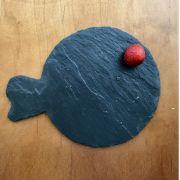 S 2128 Блюдо сланцевое фигурное 20 см Фугу, испанский сланцевый камень для ХоРеКа с насыщенный грифельным цветом