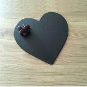 S 2132 Блюдо сланцевое фигурное 12Х10 см Сердце, испанский сланцевый камень для ХоРеКа с насыщенный грифельным цветом