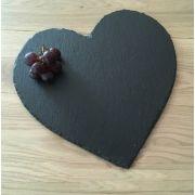 S 2134 Блюдо сланцевое фигурное 25 см Сердце, испанский сланцевый камень для ХоРеКа с насыщенный грифельным цветом