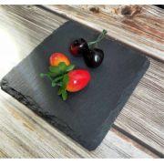 S 2137 Блюдо сланцевое квадратное 10Х10 см, натуральная испанская сланцевая посуда для ХоРеКа с насыщенный грифельным цветом
