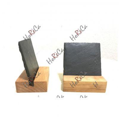 S 2155 Блюдо сланцевое квадратное карточка меловая 9,5Х9,5 см на подставке, натуральная испанская сланцевая посуда для ХоРеКа с насыщенный грифельным цветом