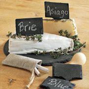 S 2156 Блюдо сланцевое прямоугольное ценник меловой 12Х9,3 см, натуральная испанская сланцевая посуда для ХоРеКа с насыщенный грифельным цветом