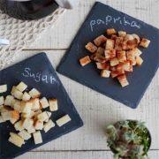 S 2158 Блюдо сланцевое квадратное 14,5 х 14,5 см, натуральная испанская сланцевая посуда для ХоРеКа с насыщенный грифельным цветом