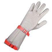 Перчатка кольчужная 5-палая с отворотом 7,5 см с ремешком на кнопке, изготовление нержавеющая сталь, Niroflex Easyfit