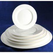 "S0008 Тарелка круглая 12"" (30,5см) с бортом Altezoro, фарфор белый теплый оттенок."