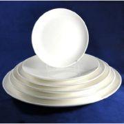 "S0026 Тарелка круглая 12"" (30,5см) без борта Altezoro, фарфор белый теплый оттенок."