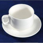 S0875+S0876 Чашка с блюдцем 200мл Altezoro, фарфор белый теплый оттенок.